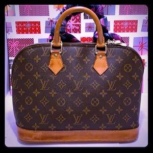 GU Louise Vuitton Monogram ALMA Satchel Handbag
